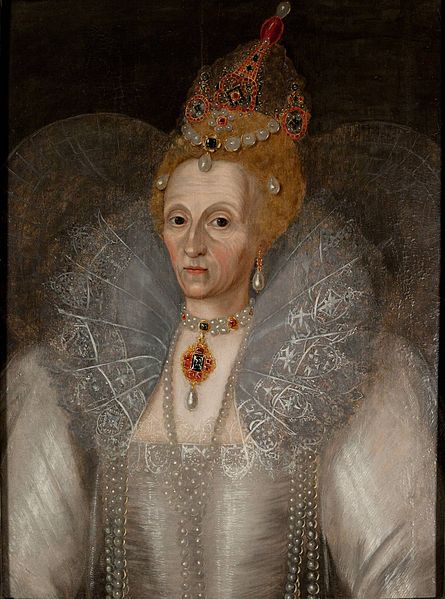 Caption for Queen Elizabeth Painting. Elizabeth I by Marcus Gheeraerts the Younger 1595. Folgers Shakespeare Library Washington.