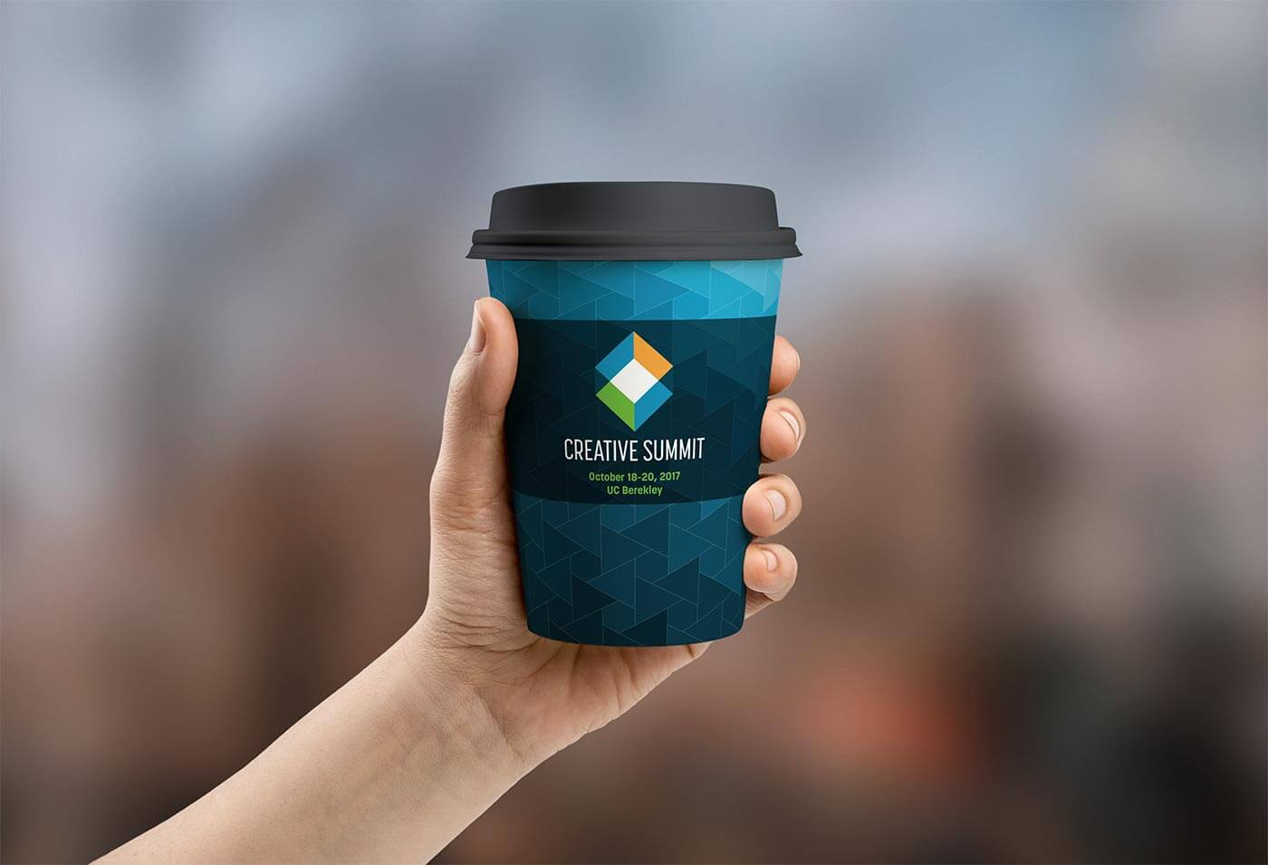 Mockup of the Creative Summit brand identity on a coffee mug, created in part by Andre Casey