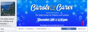 Facebook Page Cover Image for the Carols and Cares benefit concert for the Olalla Center for Children and Families designed by André Casey.