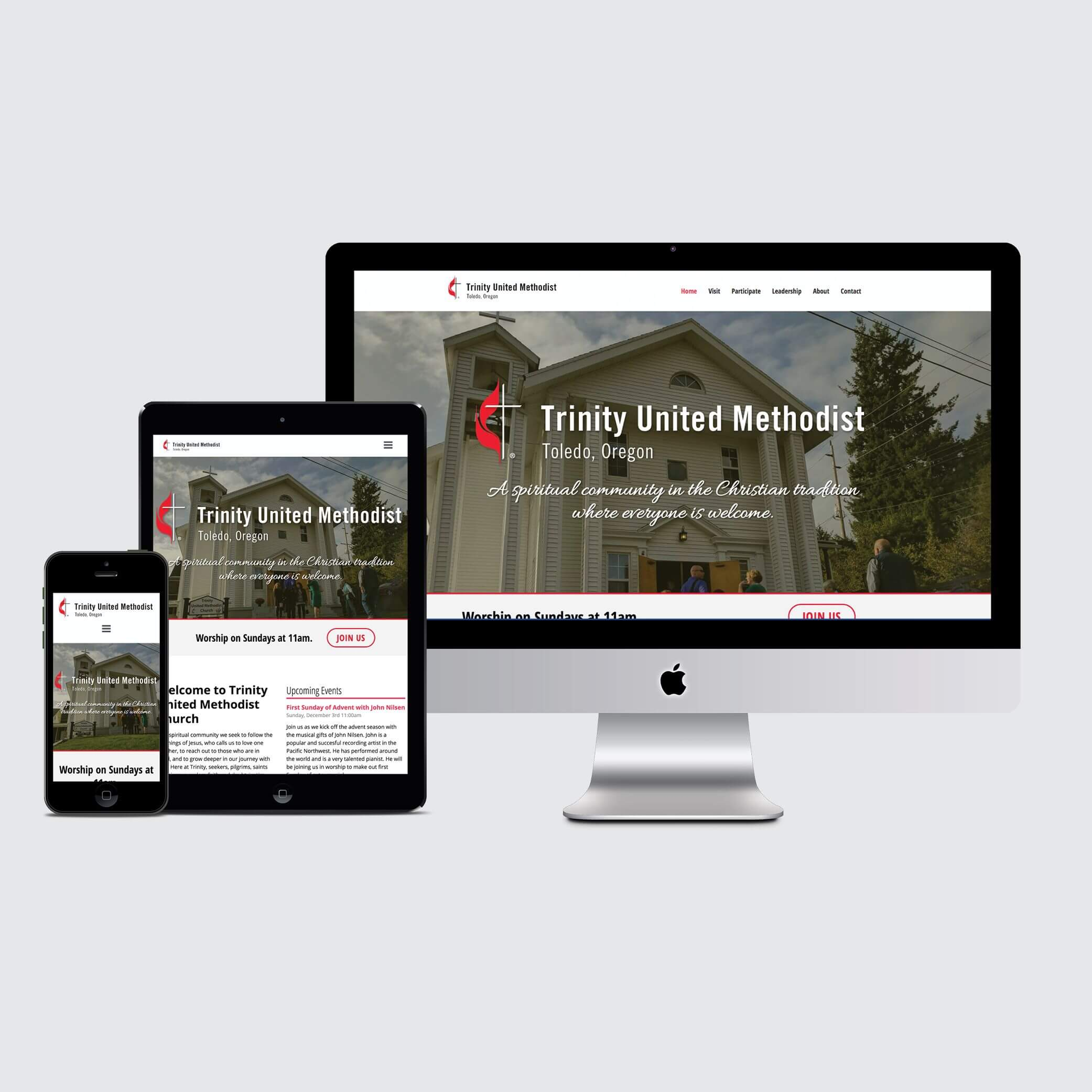 Responsive Design Mockups showing the homepage of the Trinity United Methodist website designed by André Casey