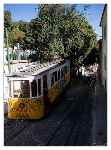 Уклон улицы, по которой курсирует фуникулер Глория, составляет 17%.