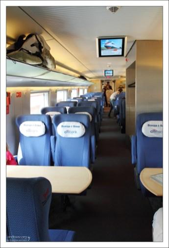 Пассажирский салон высокоскоростного поезда Сапсан.