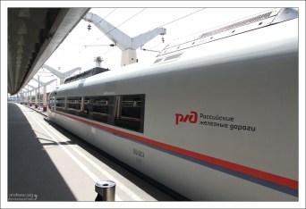 Головной вагон высокоскоростного поезда Сапсан.