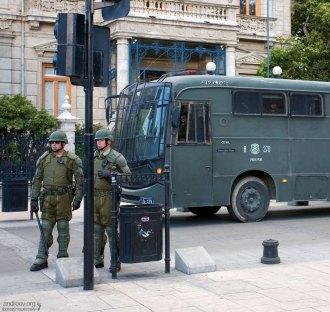 """Представители чилийского ОМОНа, в просторечии называемые """"черепашками-ниндзя""""."""