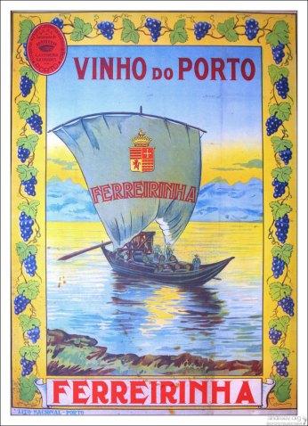 Плакат, иллюстрирующий процесс перевозки бочек с портвейном по реке Дору. Вила-Нова-де-Гайа.
