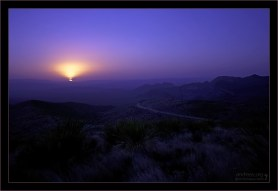 Ночь над пустыней Chihuahuan. На горизонте - Мексика.