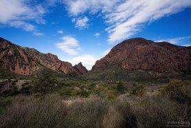Долина, окруженная горами Chisos Mountains.