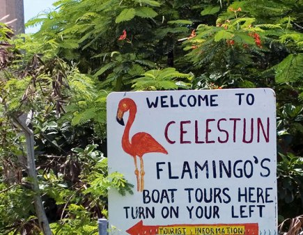 Надпись у границ заповедника Celestun Biosphere Reserve.