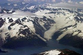 Три ледника. Вид из самолета.