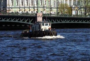 Гордый буксир на фоне Дворцового моста.