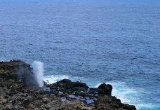 Бескрайний океан и фонтан Nakalele blowhole на берегу.