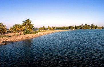 Песчаная коса с пальмами. Деревня Плаценсия.