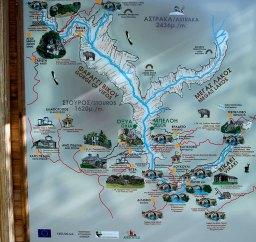 Схема каньона Викос и деревень Загории.