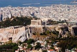 Акрополь и Парфенон с высоты холма Ликавиттос.