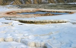Травертиновые сосульки на террасе Mammoth hot springs.
