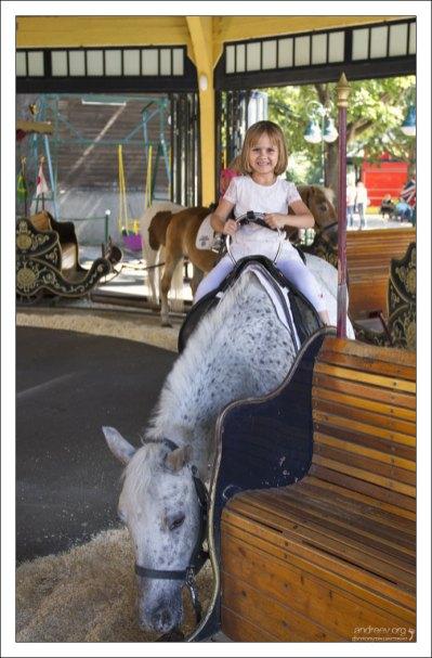 Саша на пони-карусели.