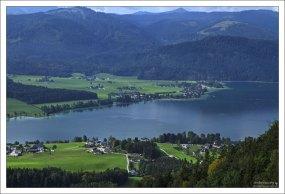 Озеро Вольфгангзее с высоты горы Шафберг.