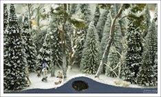 Медведь спит в берлоге в зимнем лесу.