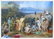 Сюжет картины «Явление Христа народу» основывается на первой главе Евангелия от Иоанна и третьей главе Евангелия от Матфея.