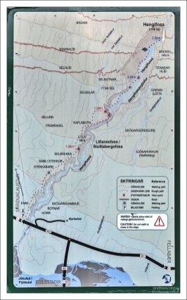 Карта каньона вокруг водопада Хенгифосс.