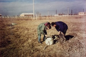 Andrei inspecting a bomb
