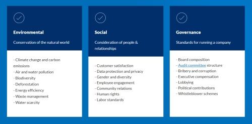Tabela de três colunas, com os fatores ESG (em Inglês) conforme o CFA Institute
