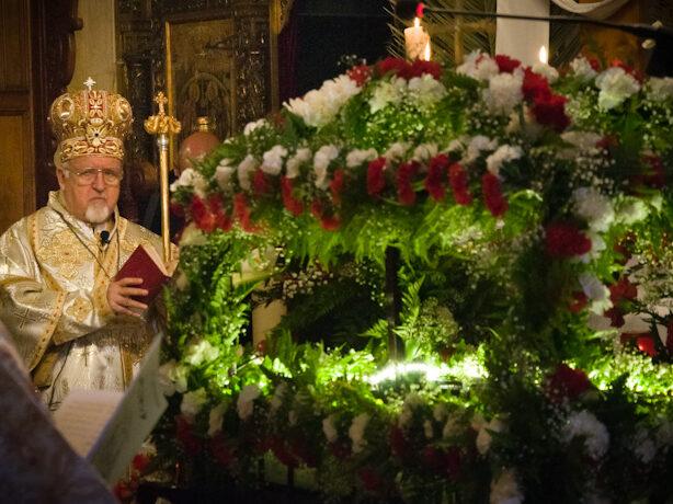 Funerale con luci e fiori