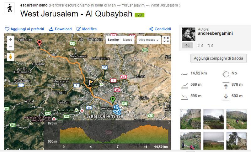 Wikiloc - percorso West Jerusalem - Al Qubaybah - West Jerusalem, Jerusalem (Israel)- GPS track - Google Chrome 05042016 122813