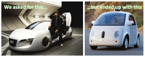 구글에서 발표한 전기 무인 자동차. 네티즌들의 기발한 패러디.