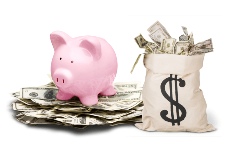 stuffed piggy bank and sack of cash