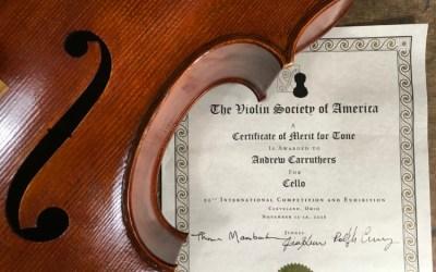 VSA 2016 – Certificate of merit for cello tone!