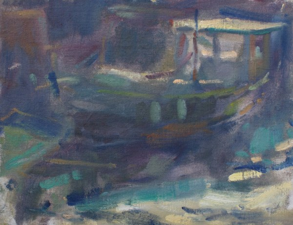 original oil painting, boat on the beck, Staithes. Yorkshire. By Andrew Farmer