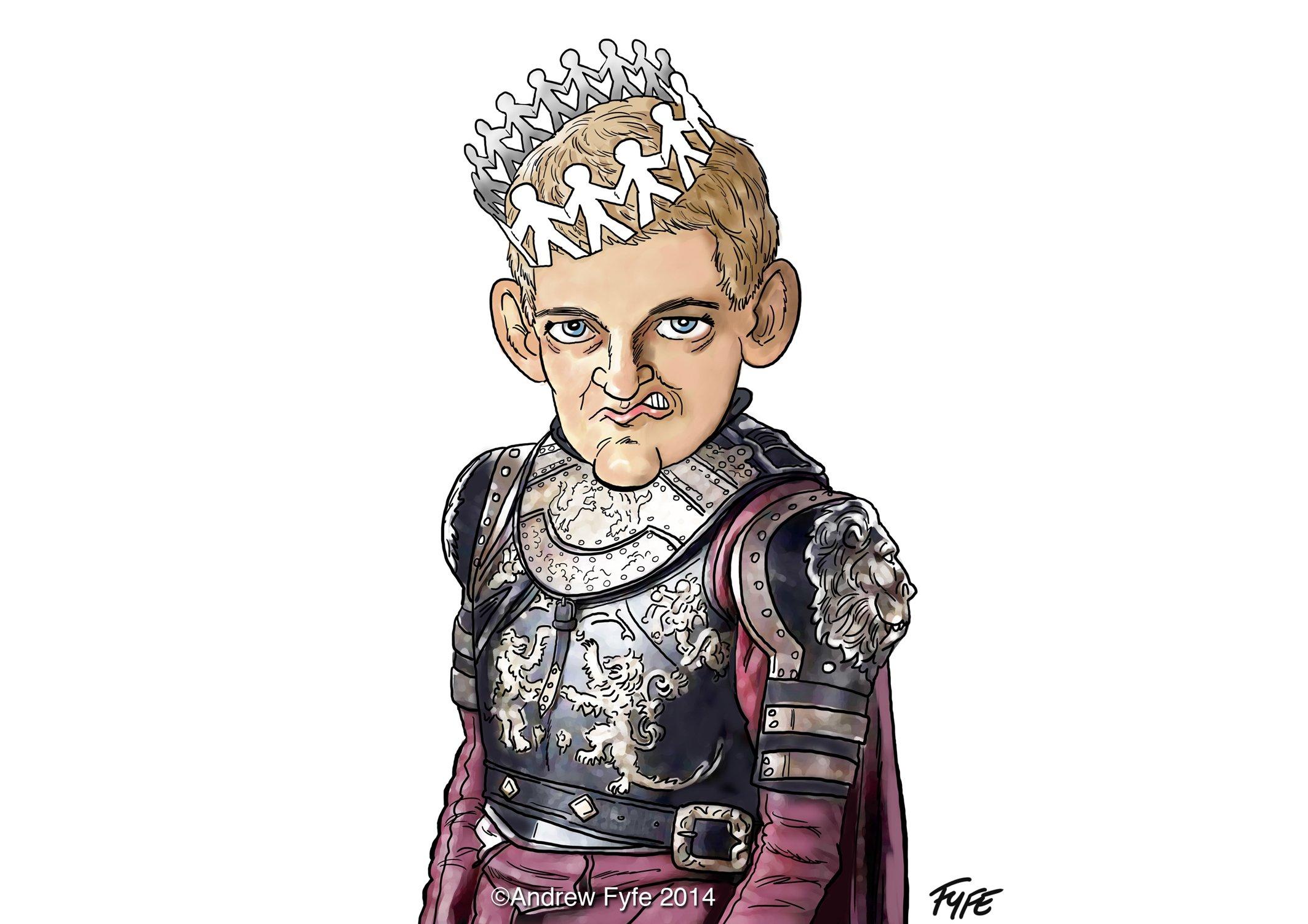 Joffrey Baratheon caricature, Joffrey Baratheon cartoon, Joffrey Baratheon, King Joffrey, Game of Thrones, Game of Thrones caricature, Game of Thrones cartoon, Andrew Fyfe,