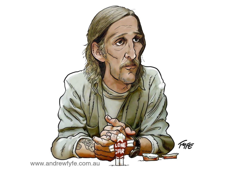 Matthew McConaughey, Matthew McConaughey True Detective, Matthew McConaughey caricature,