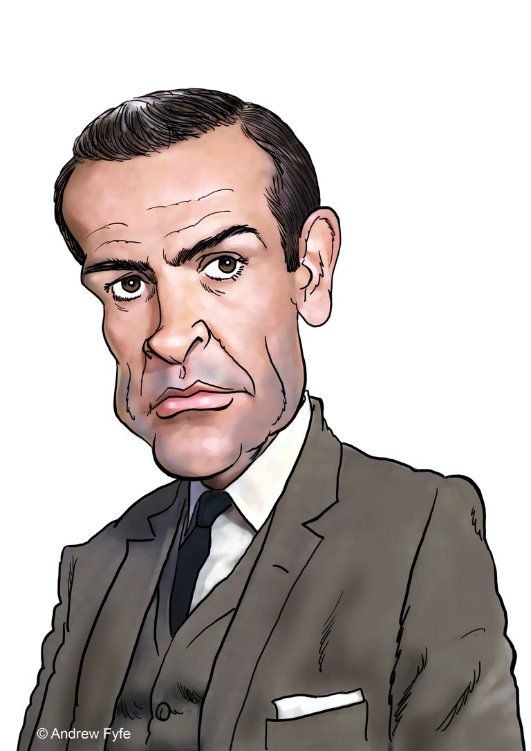 Sean Connery caricature, Sean Connery art, RIP Sean Connery