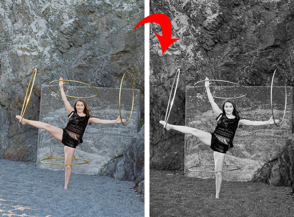 Convert colour photo to black & white in Lightroom