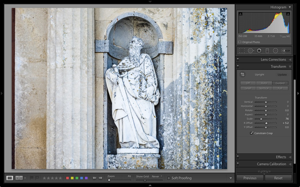 Lightroom Upright Guide tool