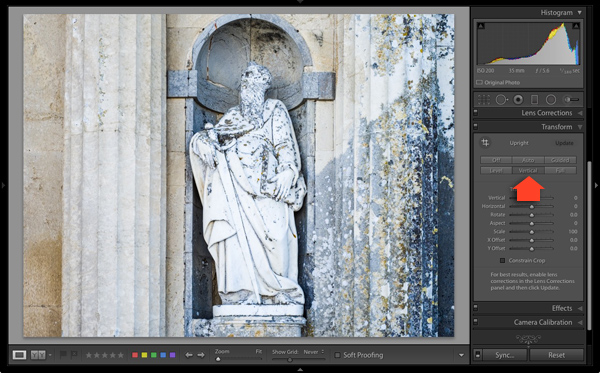 Lightroom Upright Guide in Transform panel