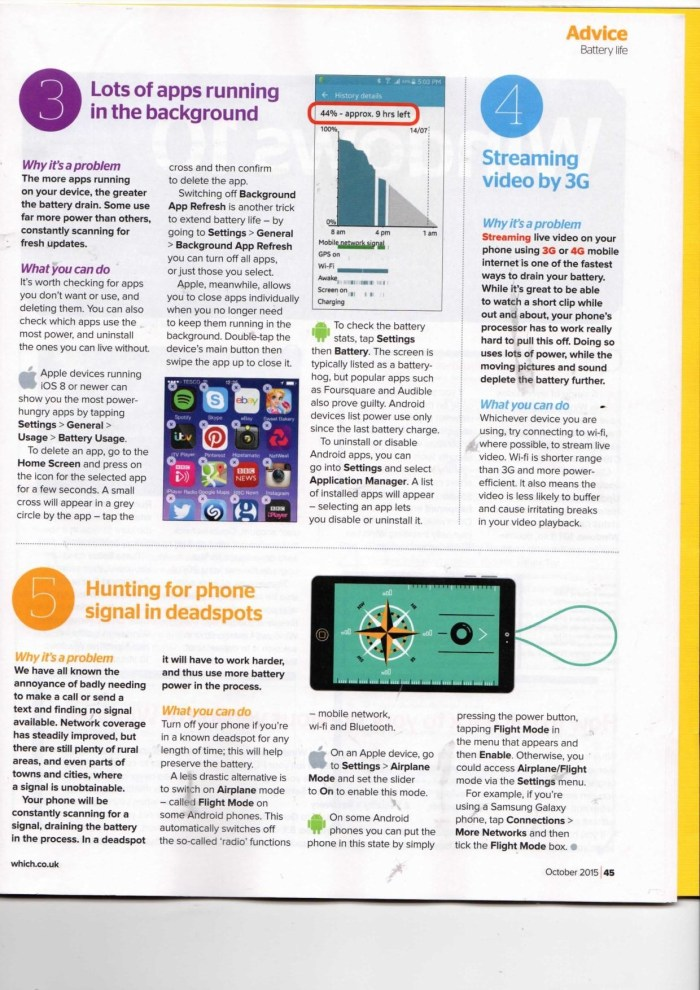 "Which? Computing Magazine? ""Top 5 Reasons your Phone Battery Dies"", p.2"