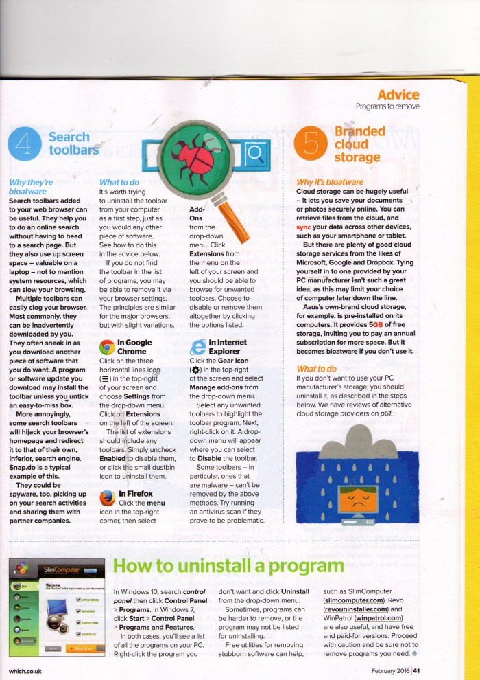Which? Computing Magazine,  Februaty 2016, Top 5 Programmes You Don't Need,  p.2