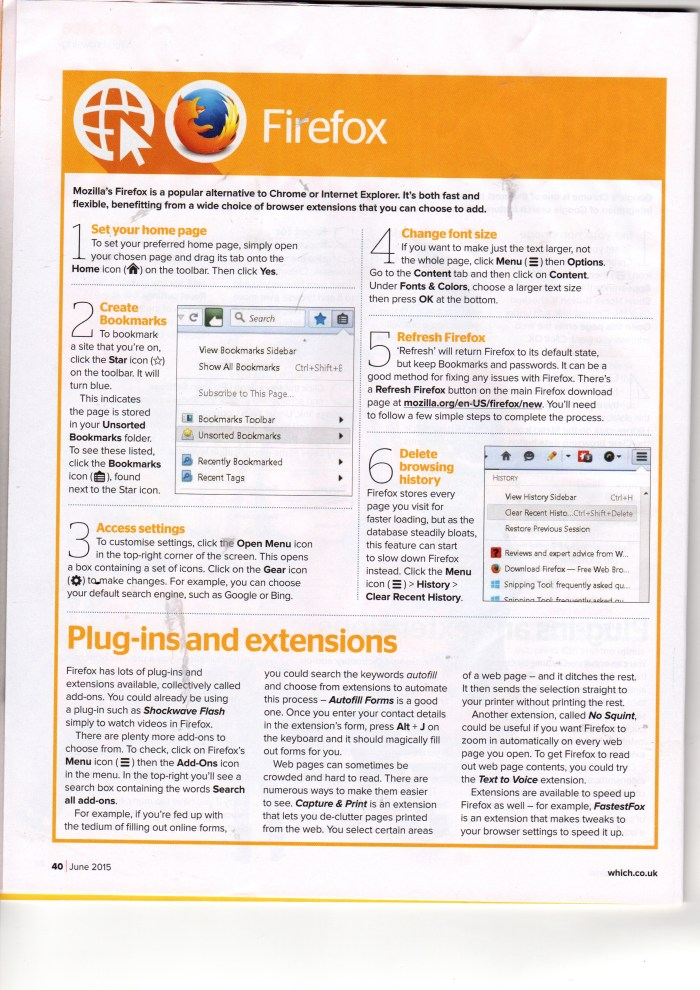 "Which? Computing Magazine June 2015,  ""Easier Web Browsing - Firefox"""