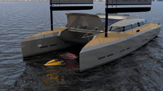 Coriolis has a garage up front to stow away Tenders and/or Jetskis.