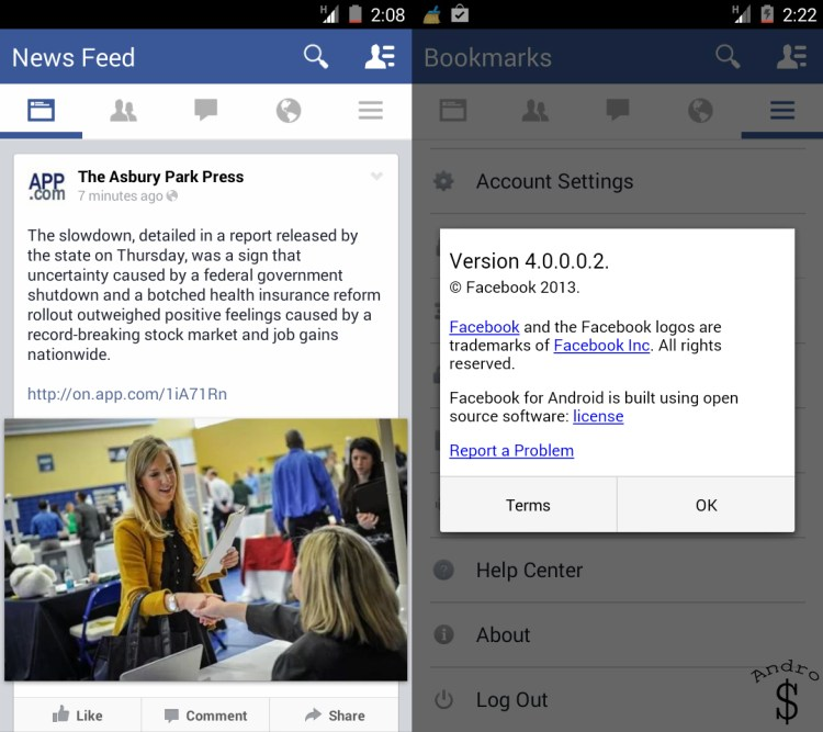 Leaked images show Redesigned Facebook UI for Android