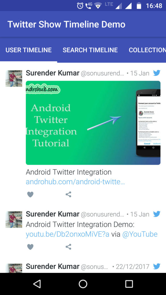Android Twitter Show Timelines - Androhub