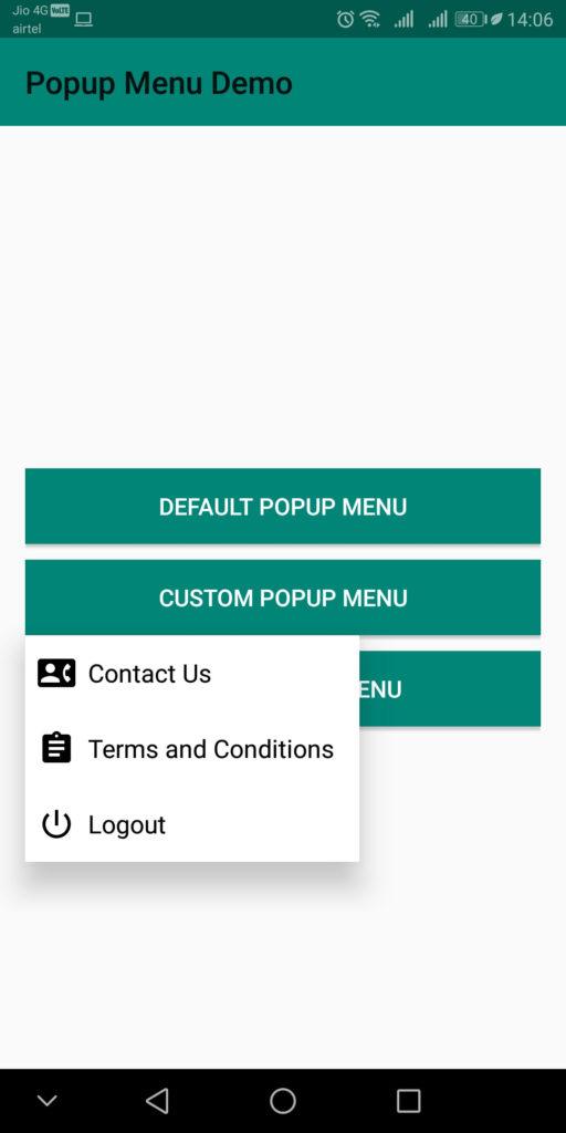 Android Popup Menu - Androhub
