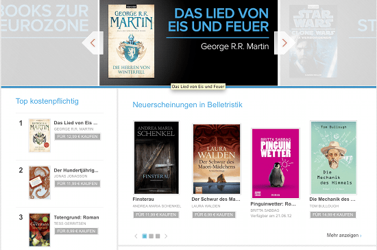 Lesestoff im Play Book Store