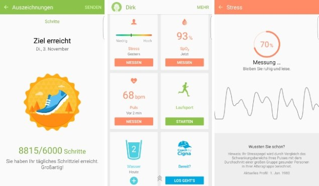 Sport Körperwerte Puls Stress Samsung Galaxy S6