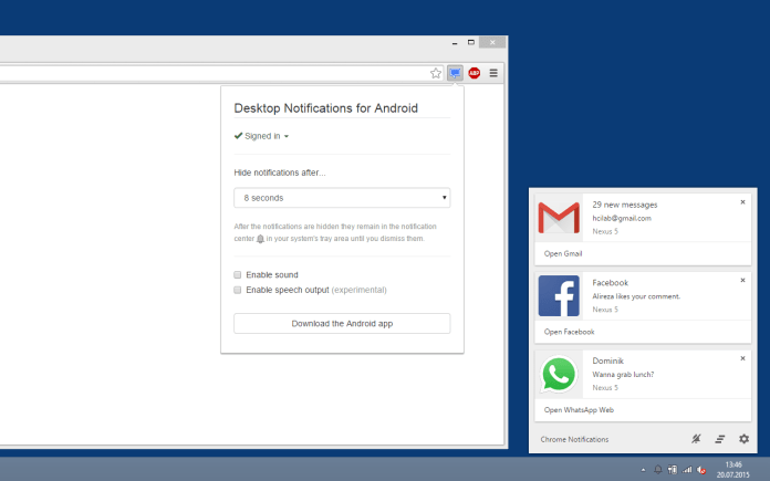 desktop notifications android