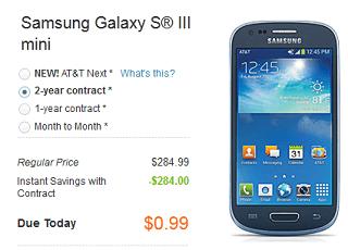 Samsung Galaxy S 3 Mini avaialble at AT&T