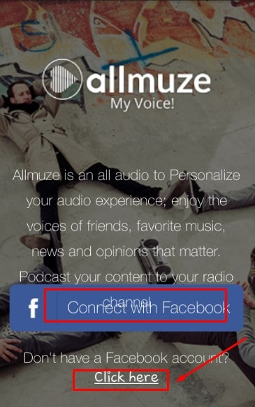 كيفية التسجيل في تطبيق Allmuze